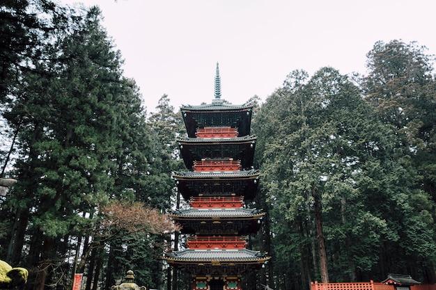 Pagoda rossa nella pioggia Foto Gratuite