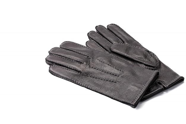 Paia dei guanti di cuoio neri degli uomini isolati Foto Premium