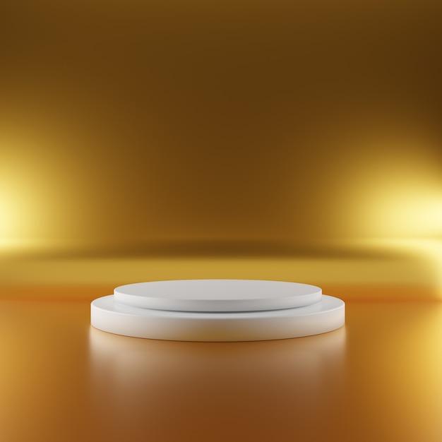 Palco piedistallo bianco su fondo oro con illuminazione spot. concetto di stand geometria minima astratta. sfondo piattaforma podio studio. presentazione dell'attività espositiva. illustrazione 3d rendering Foto Premium
