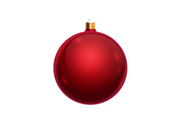 Palla rossa di natale isolata su fondo bianco. decorazioni natalizie, ornamenti sull'albero di natale. Foto Premium