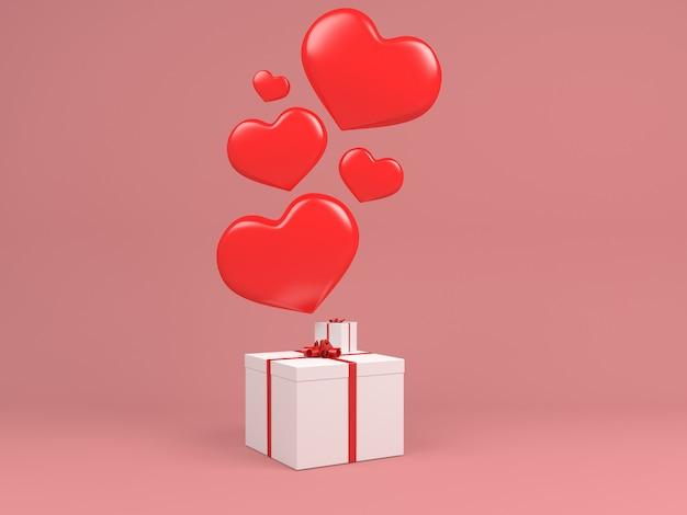 Palloncino cuore volare in aria bianco gif box concetto rosa pastello sfondo minimale Foto Premium