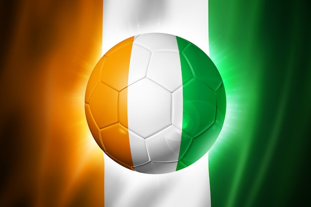 Pallone da calcio calcio con bandiera costa d'avorio Foto Premium
