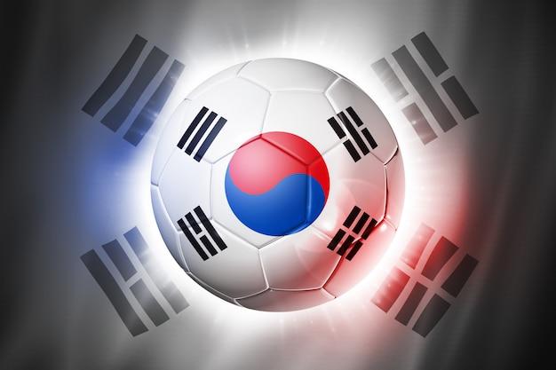 Pallone da calcio calcio con bandiera della corea del sud Foto Premium