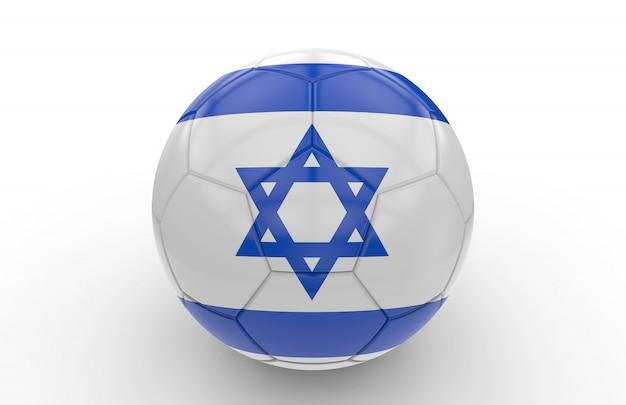 Pallone da calcio con bandiera israeliana Foto Premium