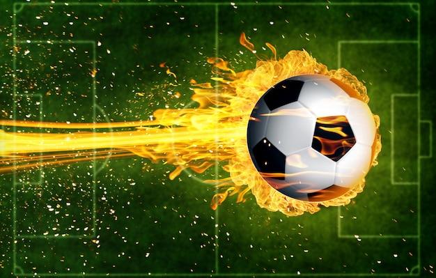 Pallone da calcio in fiamme di fuoco Foto Premium