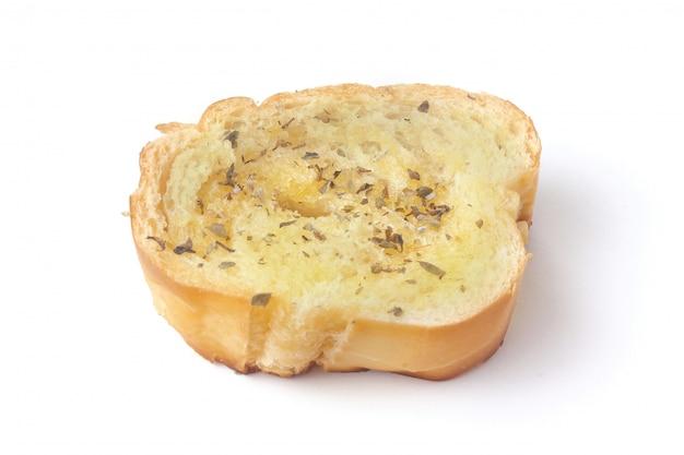 Pane alle erbe tostato casalingo affettato isolato Foto Premium