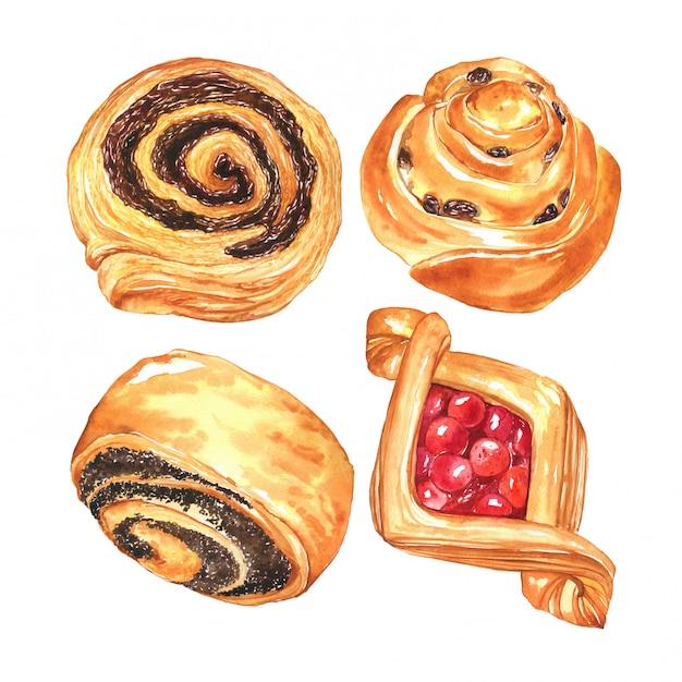 Panini dolci disegnati a mano con bacche, uvetta e cioccolato. collezione acquerello di pasticceria Foto Premium
