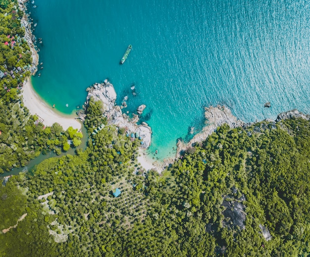 Panoramica sull'oceano, sulla riva e sulla foresta verde. bali. Foto Premium