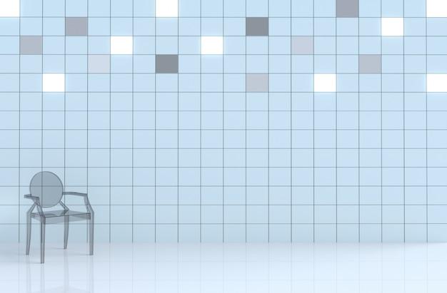 Parete bianca del cubo delle mattonelle nella decorazione della stanza bianca con la sedia di vetro Foto Premium