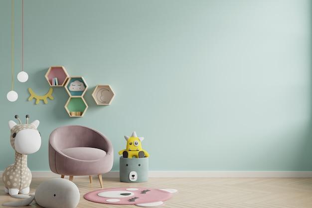 Parete del modello nella stanza dei bambini sul fondo di colori verdi della parete. Foto Premium