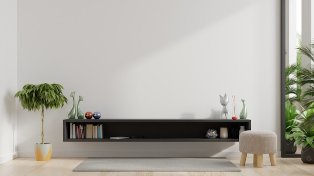 Parete per tv in soggiorno con pareti bianche. Foto Gratuite
