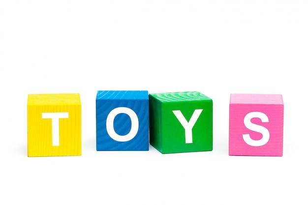 Parola dei giocattoli sui cubi di legno Foto Premium