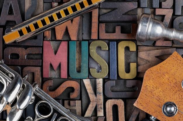Parola di musica in blocchi di stampa tipografica Foto Premium
