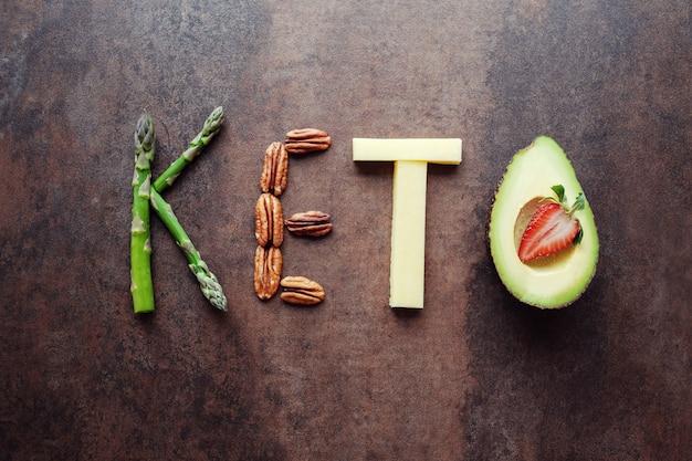 Parola keto fatta da cibo ketogenic Foto Premium