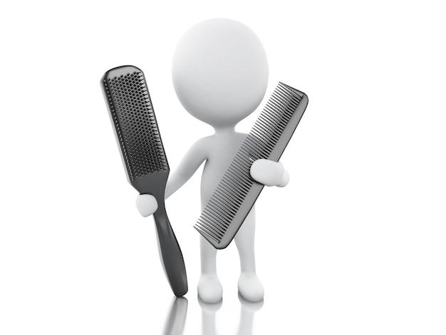 Parrucchiere 3d con pettine e spazzola per capelli. Foto Premium
