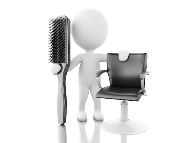 Parrucchiere 3d con spazzola per capelli. Foto Premium