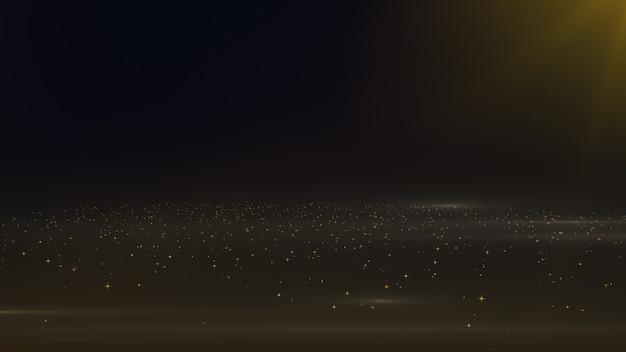 Particelle di polvere galleggiante d'oro e nebbia con bagliore sullo spazio animazione di sfondo Foto Premium