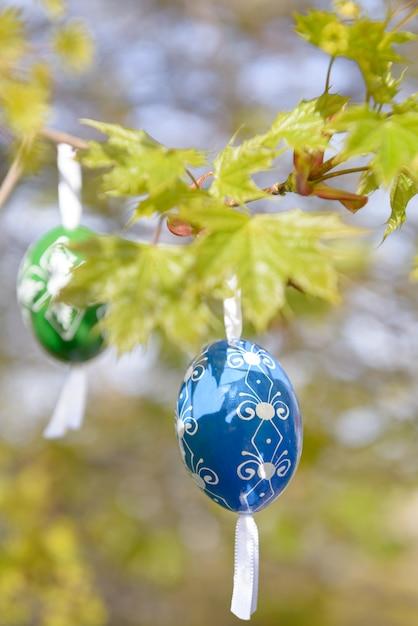 Pasqua verde con uovo di legno blu Foto Premium