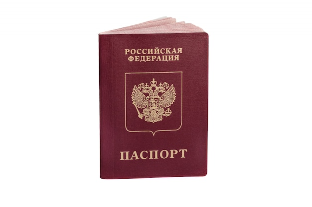 Passaporto russo isolato su bianco Foto Premium