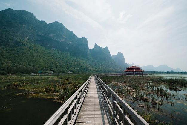 Passerella in piscina palude con paesaggio montano Foto Gratuite