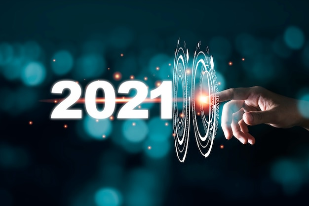Passi il passaggio commovente attraverso infographic al 2021 anni con bokeh blu e buio Foto Premium