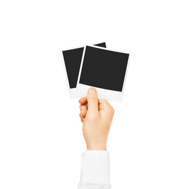 Passi la tenuta del modello in bianco delle strutture della foto isolato Foto Premium