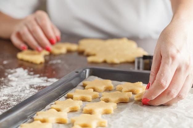 Pasta da forno di natale, formine per biscotti, spezie e noci. Foto Premium