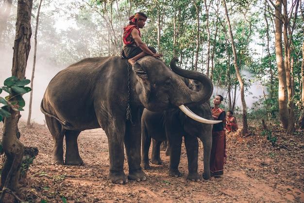 Pastori tailandesi nella giungla con elefanti. momenti storici di stile di vita dalla cultura thailandese Foto Premium