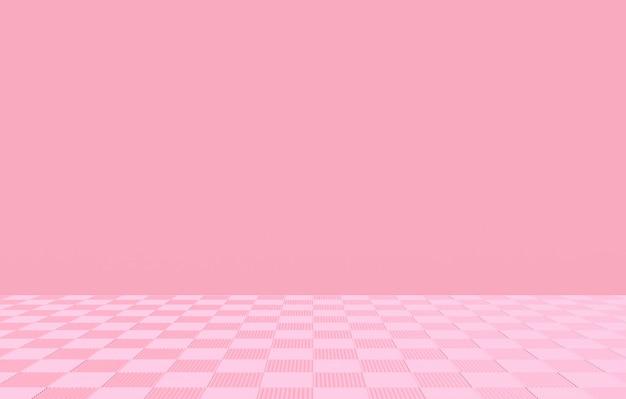 Pavimento di mattonelle quadrato rosa molle dolce con il fondo della parete dello spazio vuoto. Foto Premium