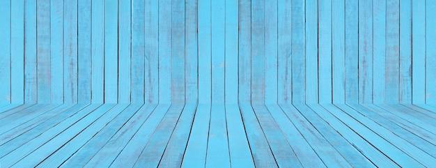 Pavimento e parete blu legno Foto Premium