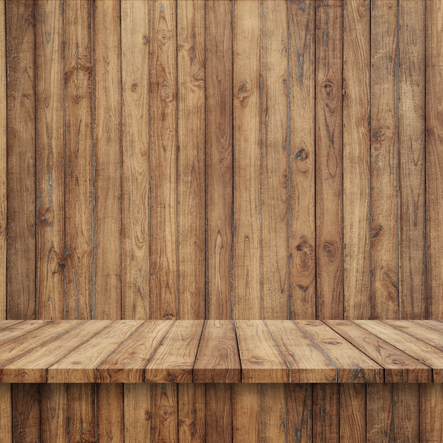 Pavimento in legno con parete di legno  Scaricare foto gratis