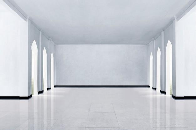 Pavimento in marmo e muro bianco Foto Premium