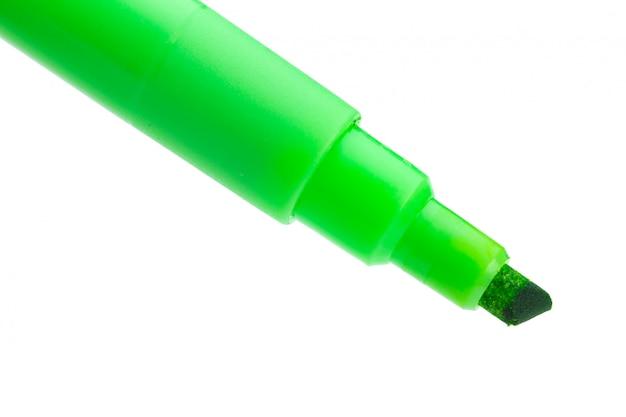 Pennarello verde su superficie bianca Foto Premium