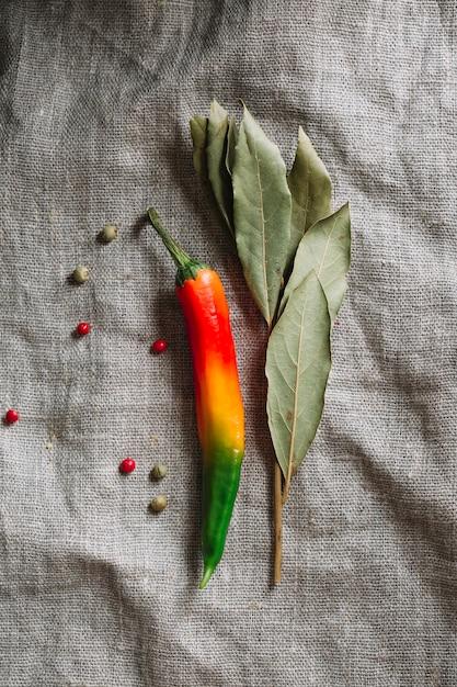 Peperoncino rovente con foglie secche Foto Gratuite