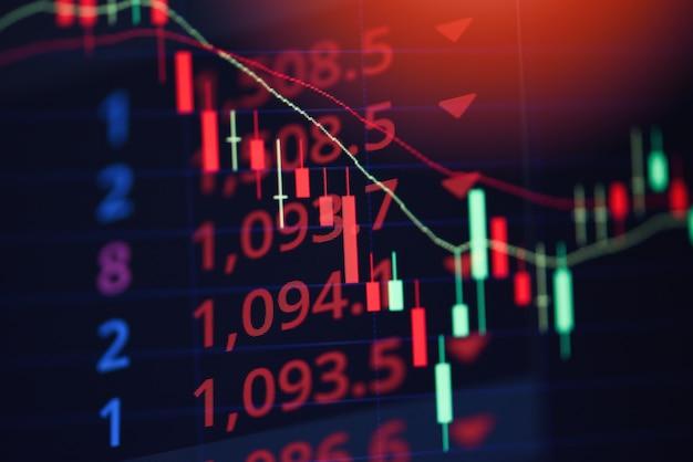 Perdita del mercato azionario perdita grafico commerciale analisi indicatore di investimento grafico commerciale grafici crisi crisi crollo grafico rosso prezzo caduta Foto Premium