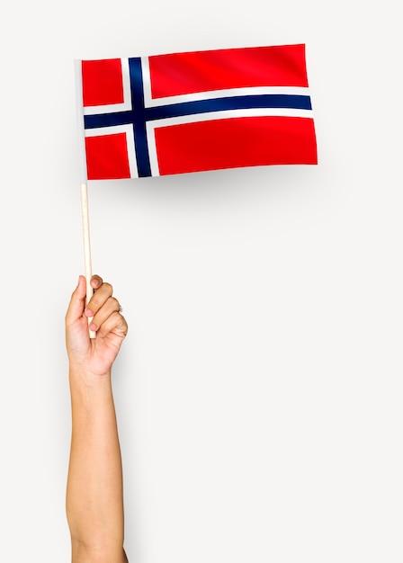 Persona che sventola la bandiera del regno di norvegia Foto Gratuite