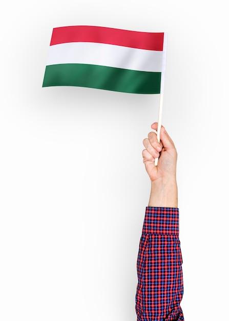Persona che sventola la bandiera dell'ungheria Foto Gratuite