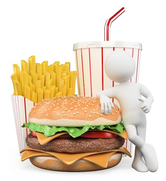 Personaggio bianco 3d. fast food. bevanda di patatine fritte di hamburger Foto Premium