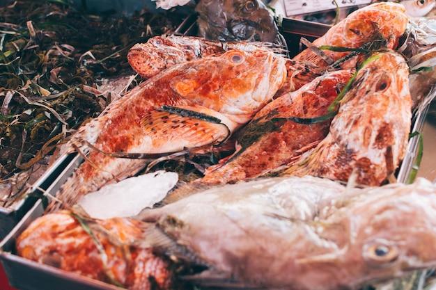 Pesce rosso con seagrass al mercato del pesce Foto Gratuite