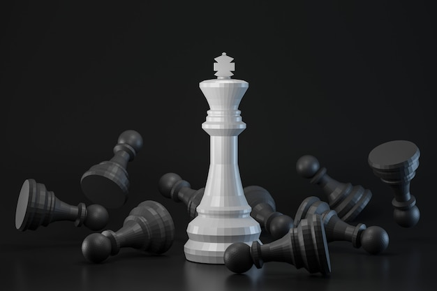 Pezzo degli scacchi in bianco e nero sulla parete scura con strategia o il concetto differente. re delle idee di scacchi e contrasto. rendering 3d. Foto Premium