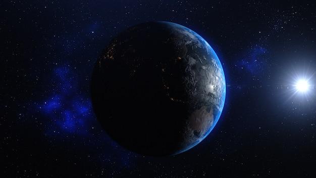 Pianeta terra con alba nello spazio Foto Premium