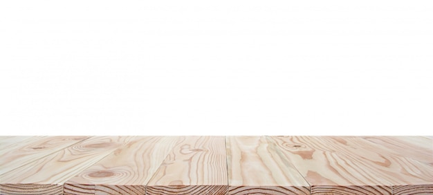 Piano d'appoggio di legno vuoto isolato su fondo bianco con il percorso di ritaglio e copyspace per esposizione o montaggio i vostri prodotti Foto Premium