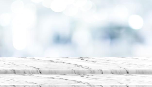 Piano d'appoggio di marmo bianco di punto vuoto con medico aspettante paziente della sfuocatura all'ospedale con la luce del bokeh Foto Premium