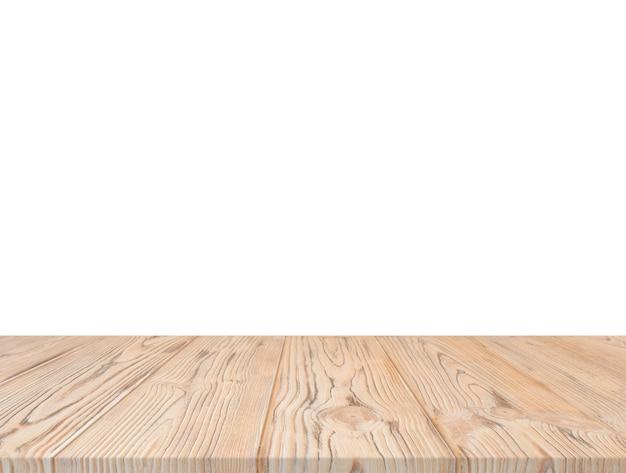 Piano d'appoggio strutturato di legno contro il contesto bianco Foto Gratuite