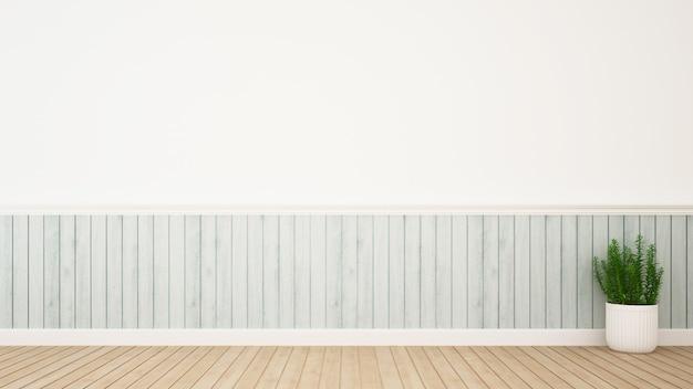 Pianta nella decorazione della stanza e spazio per materiale illustrativo - rappresentazione 3d Foto Premium