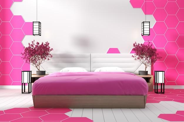 Piastrella esagonale di design moderno bianco camera da letto rosa - stile zen .3d rendering Foto Premium