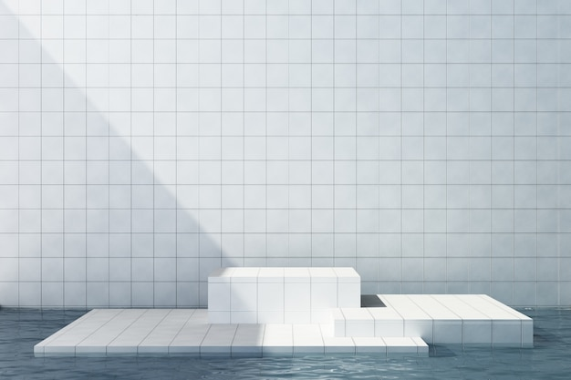 Piastrelle bianche stand di prodotto su piastrelle bianche sullo sfondo Foto Premium