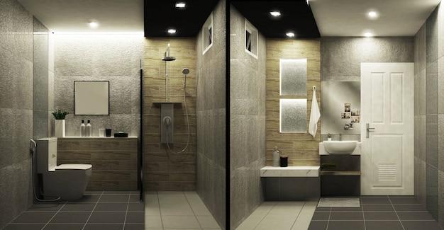 Piastrelle in stile loft wc design interno bicolore. rendering 3d Foto Premium