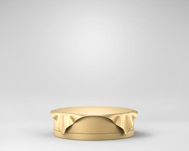 Piattaforma dorata di lusso della fase di eleganza astratta, modello per la pubblicità del prodotto, rappresentazione 3d. Foto Premium