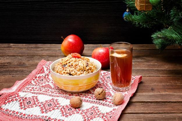 Piatto della tradizionale tradizione slava alla vigilia di natale Foto Premium